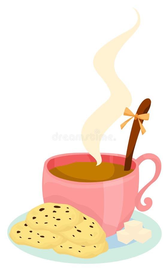 Chávena de café com bolinhos ilustração royalty free