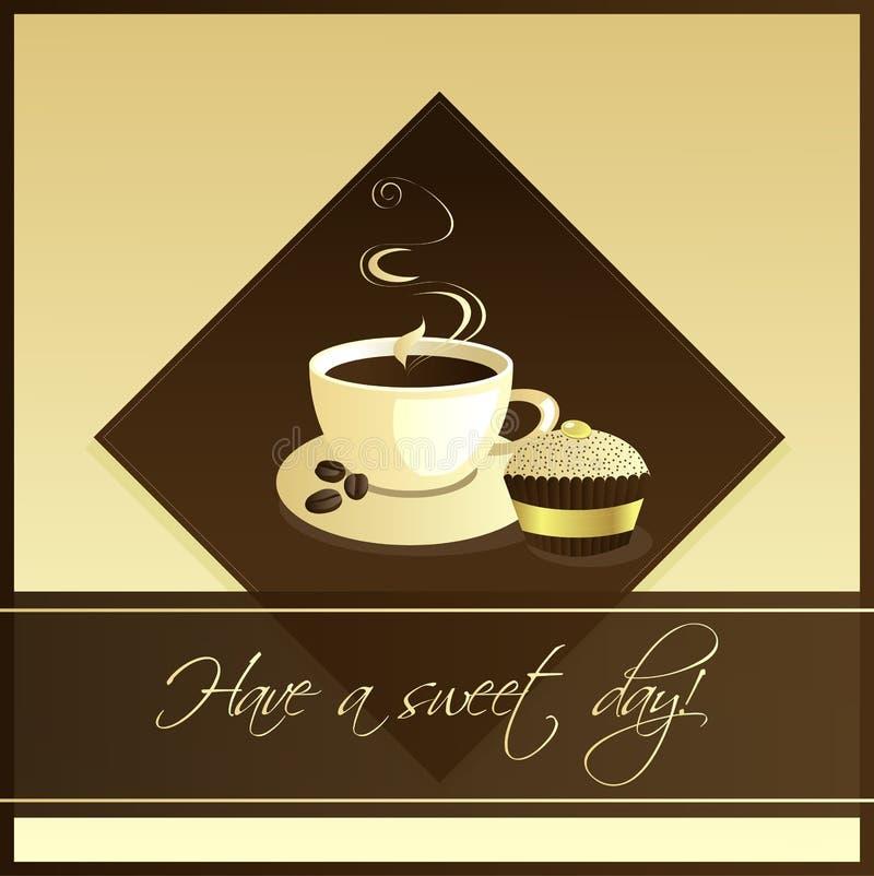 Chávena de café com bolo do copo ilustração royalty free