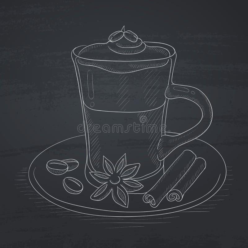 Chávena de café com canela ilustração stock
