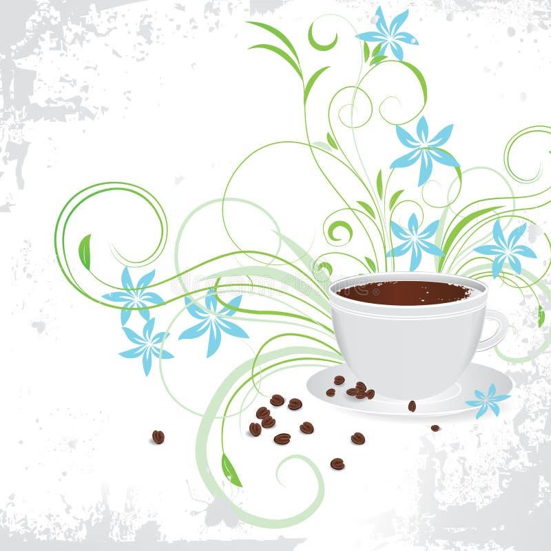 Chávena de café com grão de café. ilustração royalty free