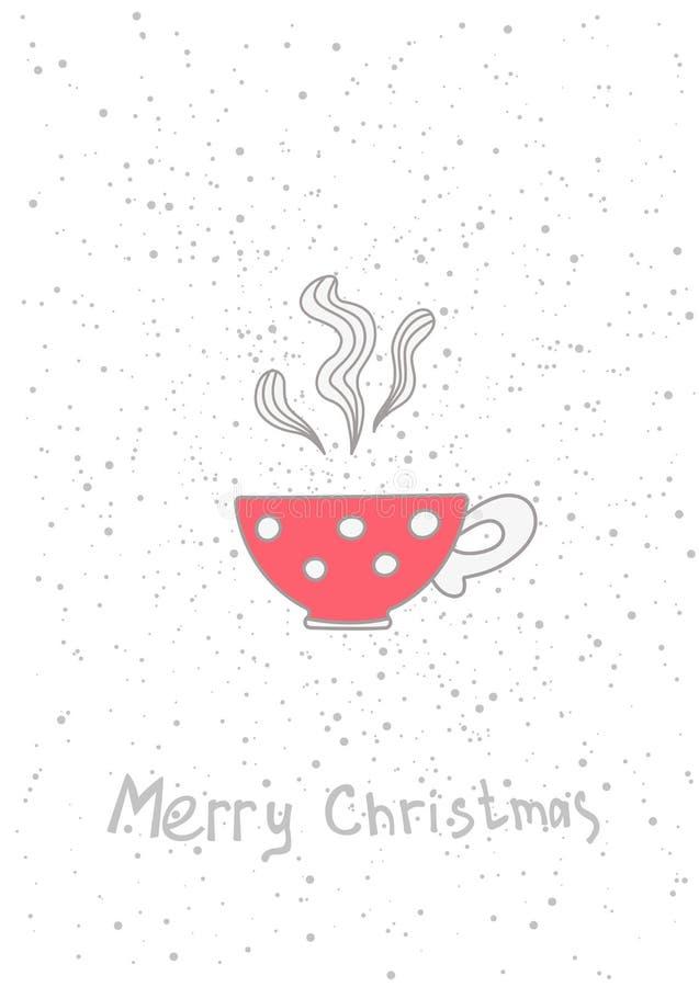Chávena de café do Natal Entregue elementos tirados para seu cartaz dos projetos, cartão ilustração stock