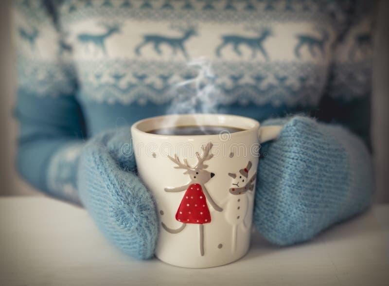 Chávena de café do Natal foto de stock