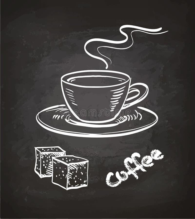 Chávena de café e cubos de Surgar ilustração do vetor