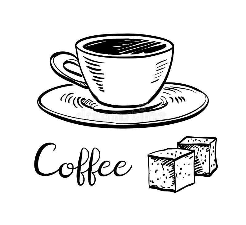 Chávena de café e cubos de Surgar ilustração royalty free