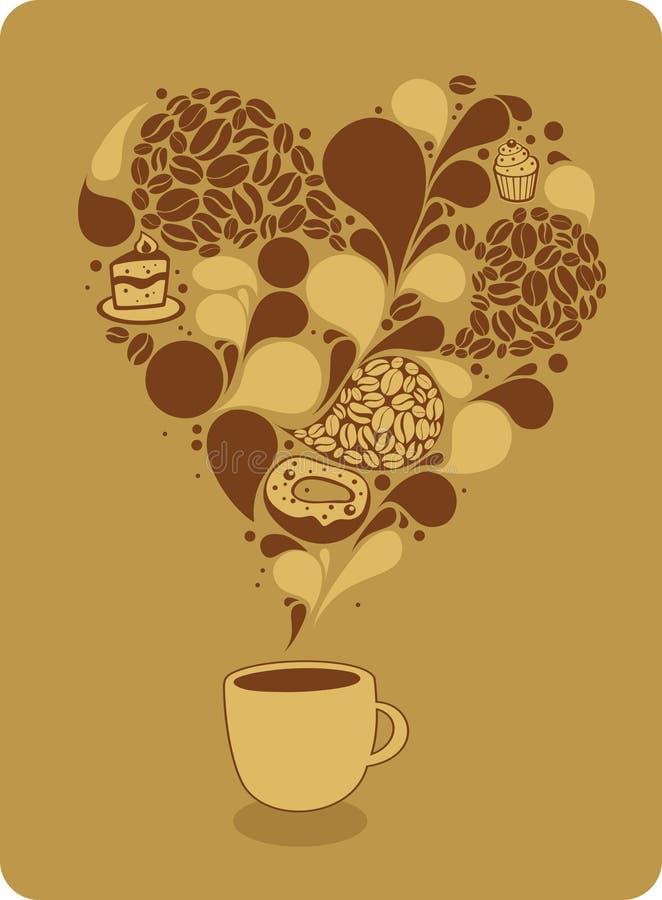 Chávena de café e doces ilustração stock