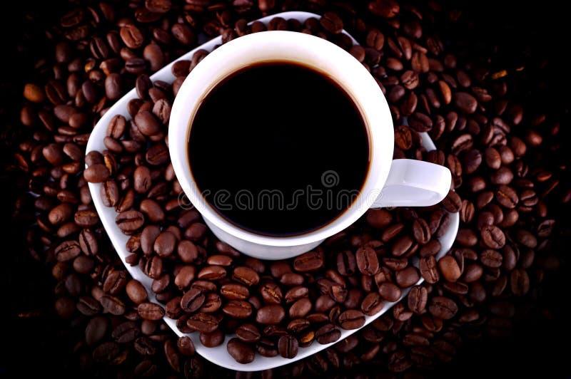 Chávena de café em feijões de café fotografia de stock