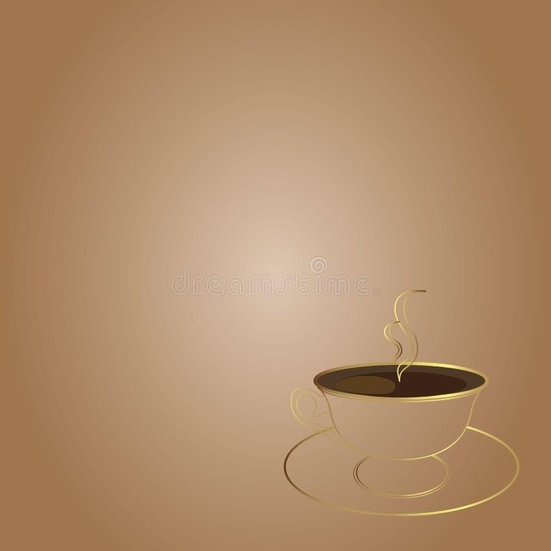 Chávena de café morna no fundo marrom ilustração royalty free