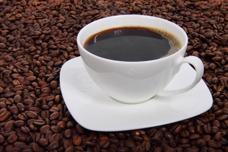 Chávena de café no fundo dos feijões fotografia de stock