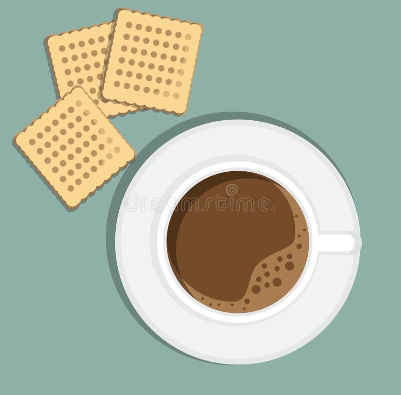 Chávena de café no saucer com biscoitos ilustração royalty free