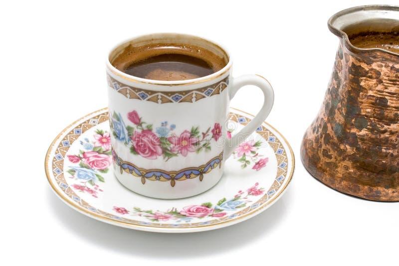 Chávena de café turca com potenciômetro fotos de stock royalty free