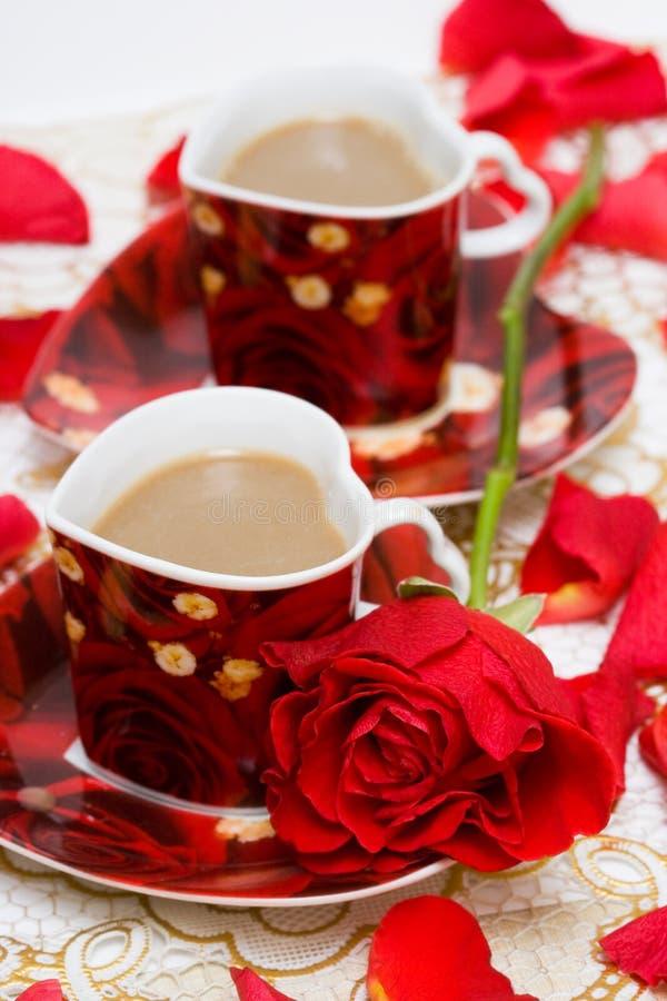 Chávena de café vermelha fotos de stock royalty free