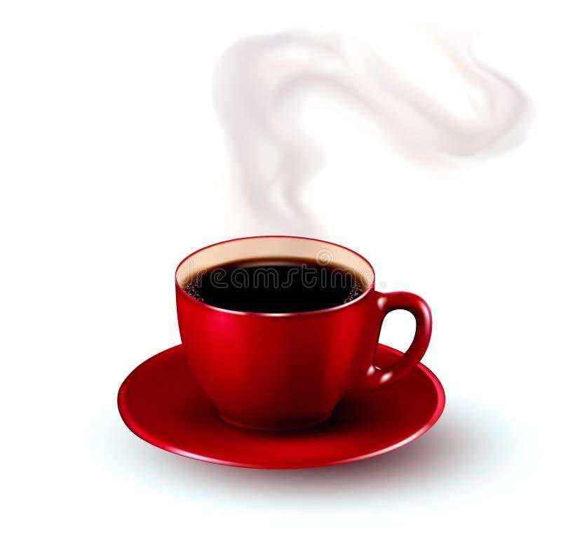 Chávena de café vermelha perfeita com vapor. ilustração royalty free