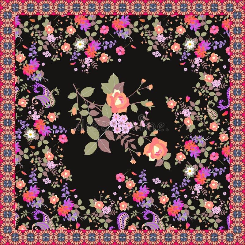 Châle floral avec de belles fleurs de jardin dans le style d'aquarelle d'isolement sur le fond noir et le cadre ornemental illustration stock