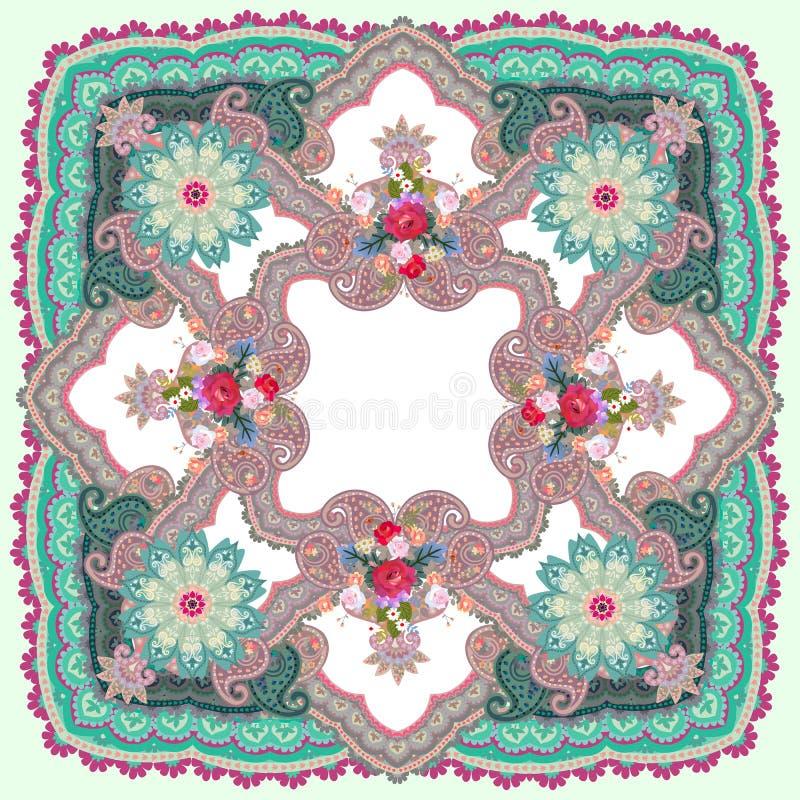 Châle ornemental avec Paisley, mandala et bouquets des fleurs dans le style ethnique Motifs indiens et russes illustration stock