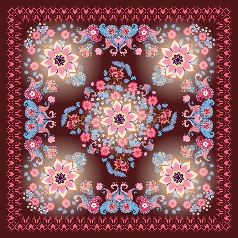 Châle ornemental dans le style ethnique avec le cadre de dentelle, les bouquets des fleurs, les papillons et Paisley sur le fond  illustration stock