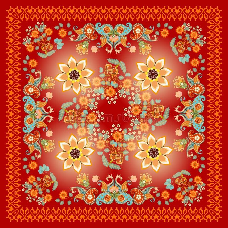 Châle ornemental ethnique avec Paisley et fleurs sur le fond rouge Russe, motifs indiens illustration de vecteur