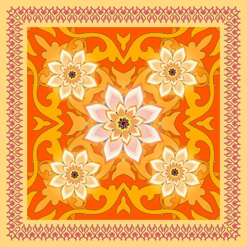 Châle ornemental lumineux avec le cadre de dentelle et fleurs abstraites dans le style ethnique Motif russe illustration stock