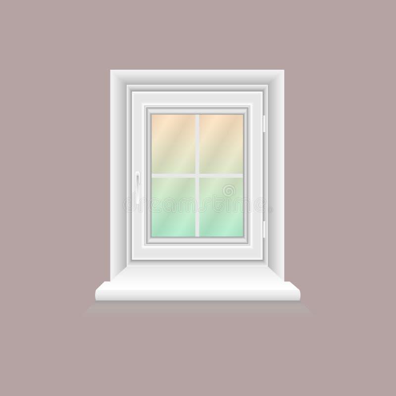 Châssis de fenêtre blanc sur le mur lilas illustration libre de droits