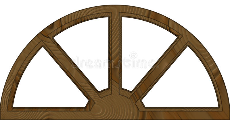 Châssis de fenêtre en bois arqué posé par double d'isolement illustration de vecteur