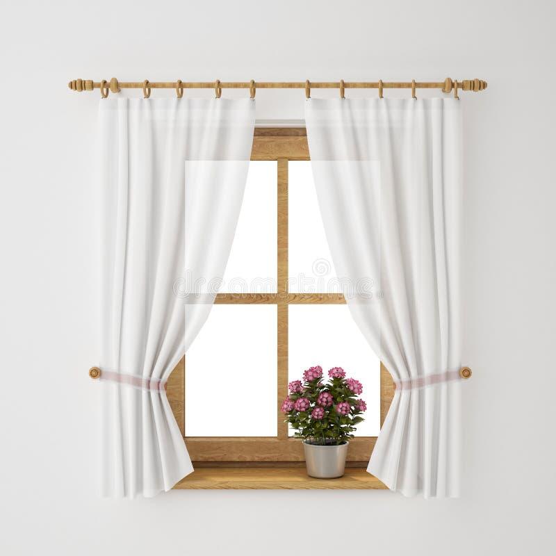 Châssis de fenêtre en bois de vintage avec le rideau et le pot de fleurs illustration stock