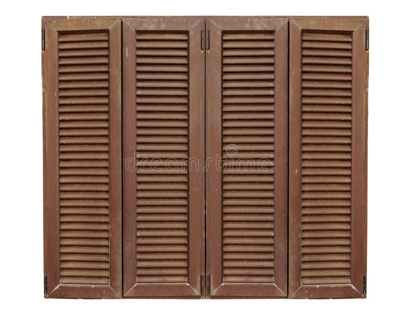 Châssis de fenêtre en bois de texture de Brown sur un fond blanc photographie stock libre de droits