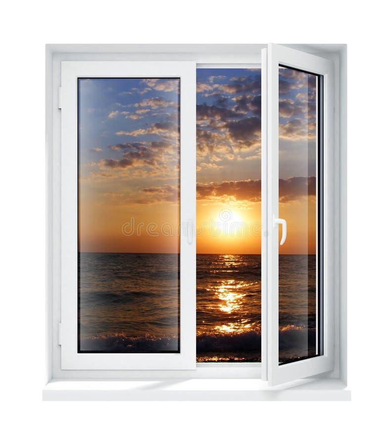 Châssis de fenêtre en verre en plastique ouvert neuf d'isolement illustration de vecteur