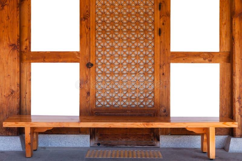 Châssis de fenêtres en bois traditionnel de la Corée photographie stock