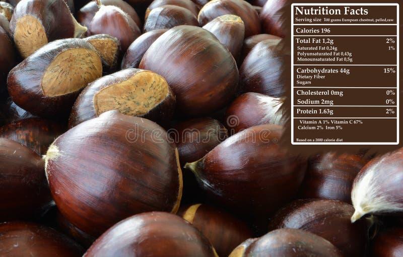 Châtaigne - nutrition images libres de droits