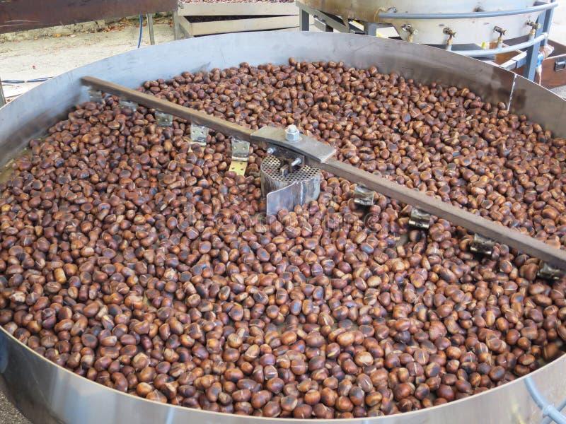 Châtaignes brunes rôties photo stock