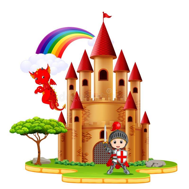 Château avec le dragon et un chevalier illustration de vecteur