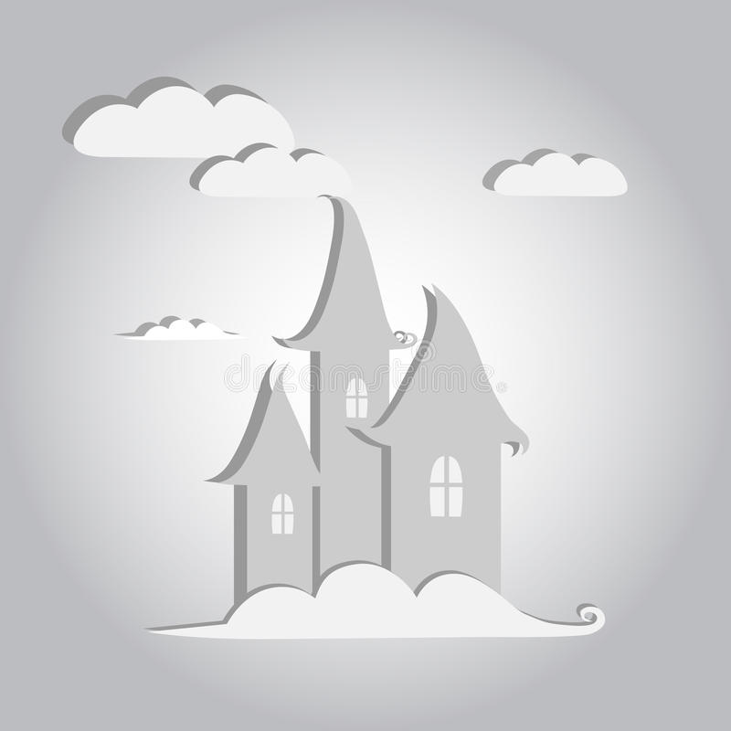 Château blanc de conte de fées dans le ciel illustration libre de droits
