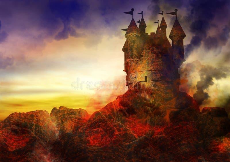 Château brûlant illustration de vecteur