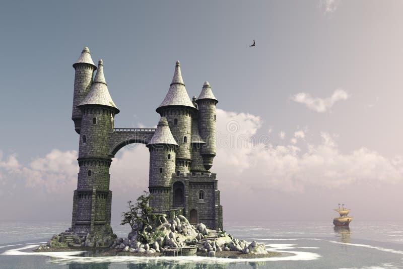 Château d'île de conte de fées illustration de vecteur