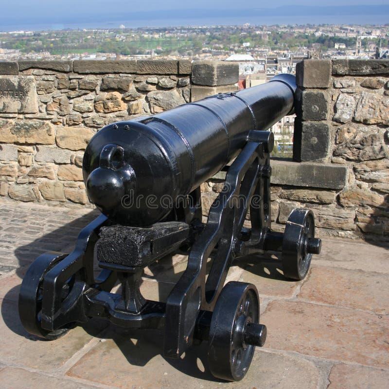Château d'Edimbourg de canon photographie stock libre de droits