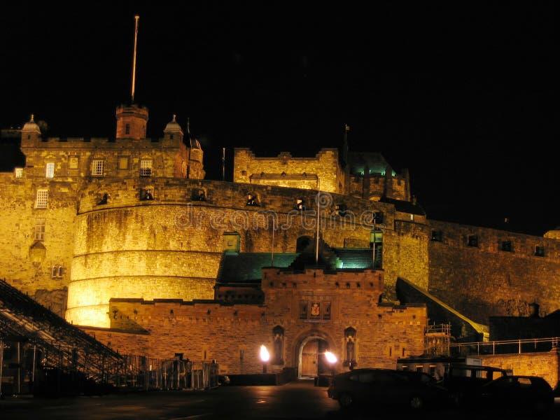 Château d'Edimbourg la nuit photos libres de droits