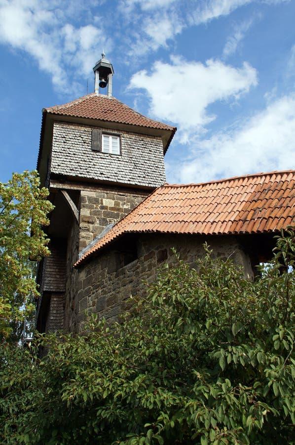 Château d'Esslinger - mur de bouclier avec tour de guet images libres de droits