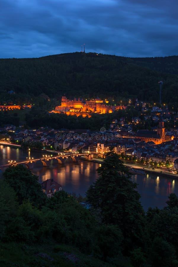 Château d'Heidelberg la nuit de la colline, Baden photos stock