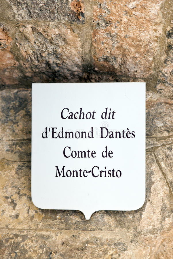 Château d'If prison cell. A tablet indicated the possible location of the cell belonging to the Count of Monte-Cristo, Alexandre Dumas's fictional character stock photography