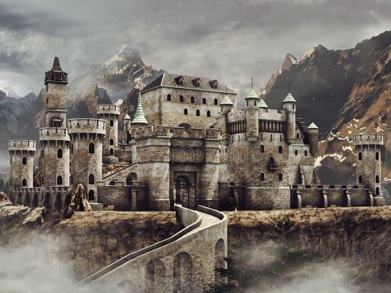 Château d'imagination dans les montagnes illustration libre de droits
