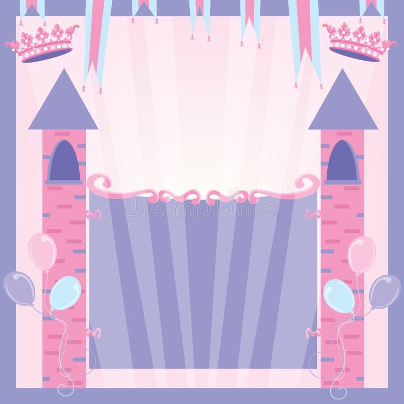 Château d'invitation de fête d'anniversaire de princesse illustration de vecteur