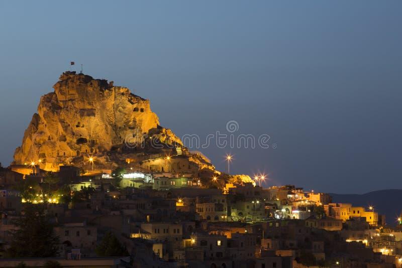 Château d'Uchisar dans Cappacocia, Nevsehir, Turquie photographie stock libre de droits