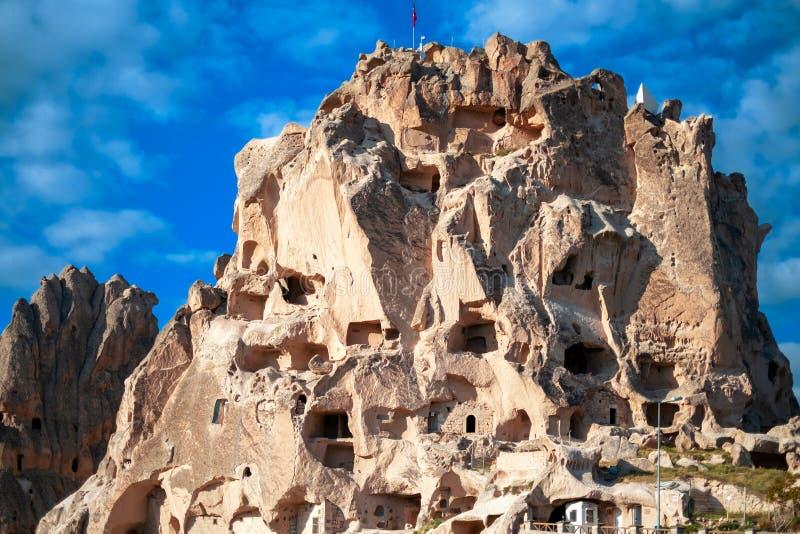 Château d'Uchisar Vue de la ville dans Cappadocia images libres de droits