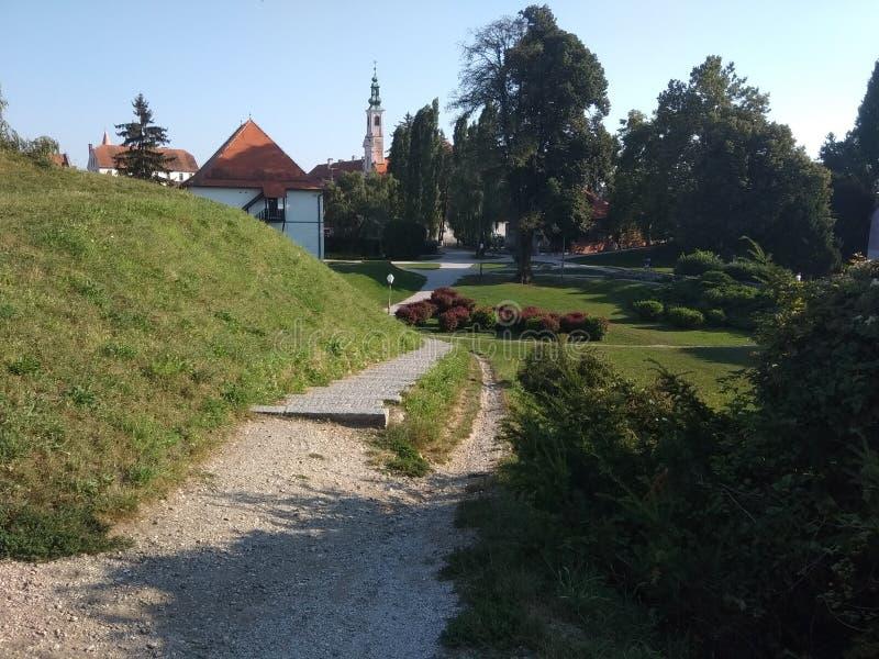 Château dans le vacarme de ¾ de VaraÅ photographie stock