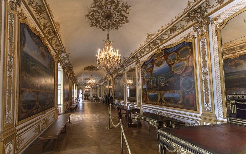 Château de尚蒂伊、内部和细节,瓦兹省,法国 免版税库存照片