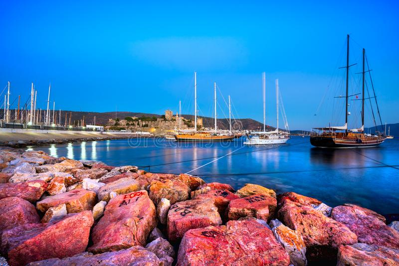 Château de Bodrum et marina, Turquie images stock