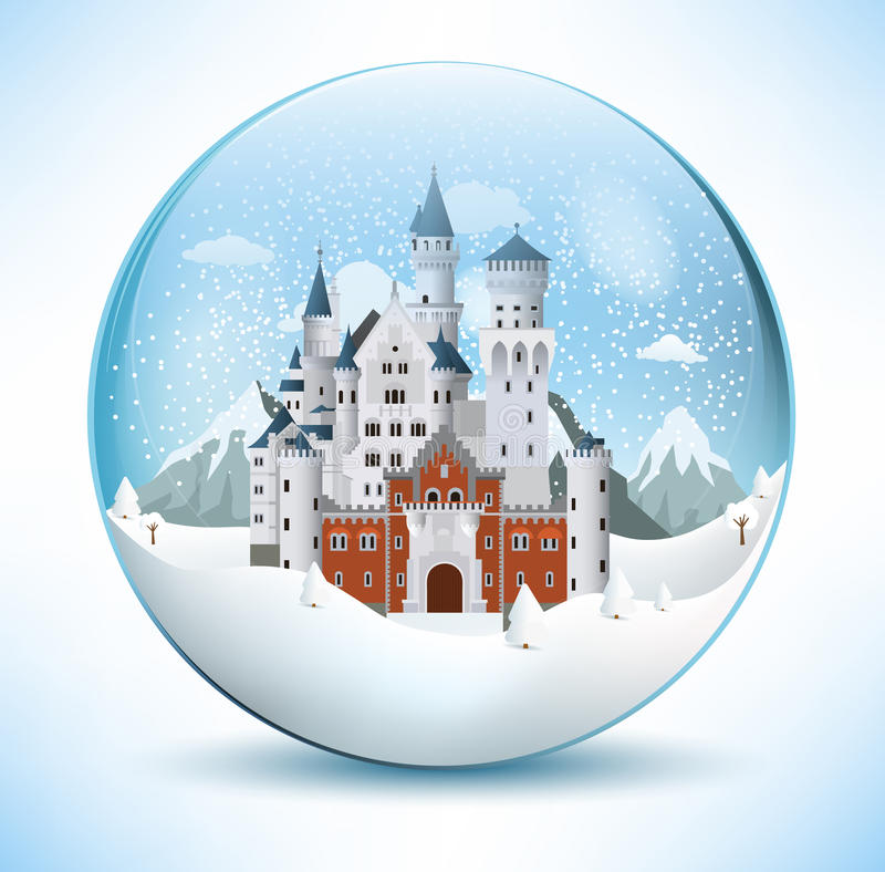 Château de conte de fées dans la sphère en verre illustration de vecteur