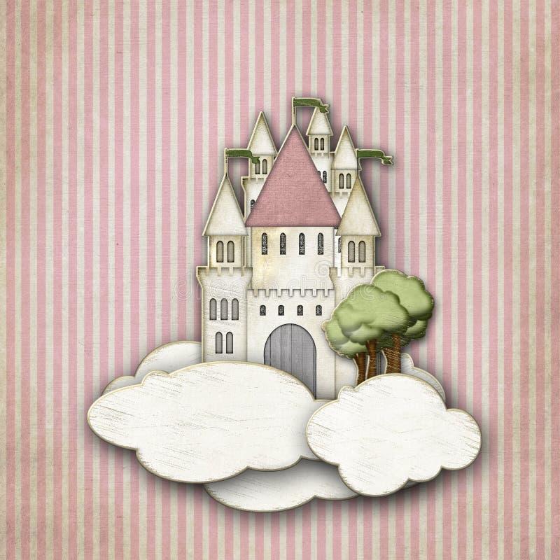 Château de conte de fées dans les nuages illustration de vecteur