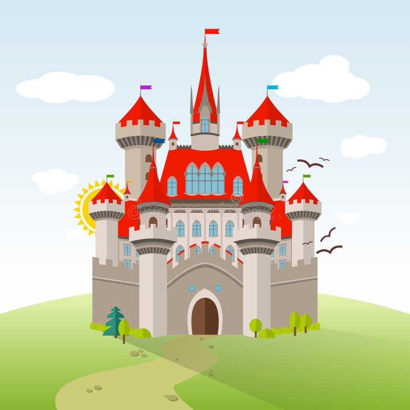 Château de conte de fées Illustration d'enfant d'imagination de vecteur illustration libre de droits