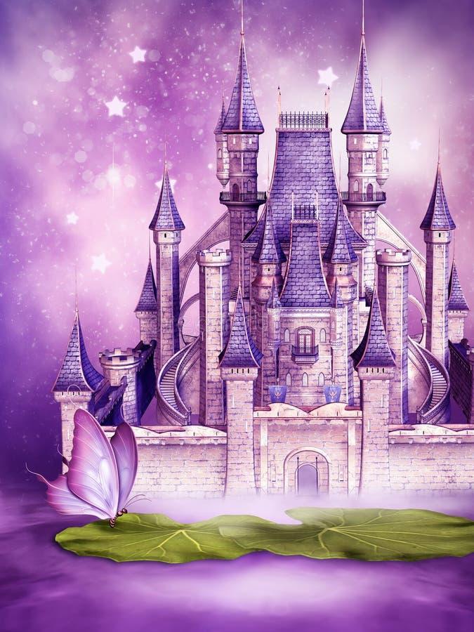 Château de conte de fées sur l'eau illustration de vecteur