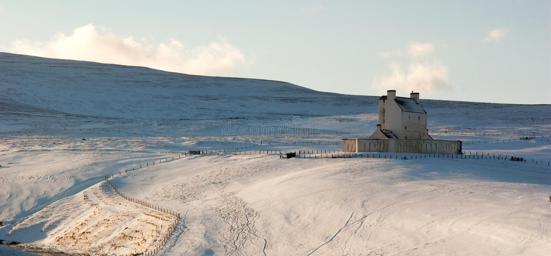 Château de Corgarff en hiver images stock